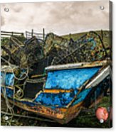 An Old Boat Turned In A Fyke Storage Place. Second Life.i Found This Near The Sea In Uig, Scotland. Acrylic Print