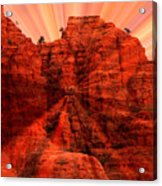 Sedona Sunset Energy - Abstract Art Acrylic Print by Carol Groenen