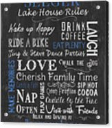 Seeger Lake House Rules Acrylic Print