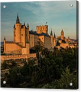 Segovia Alcazar And Cathedral Golden Hour Acrylic Print
