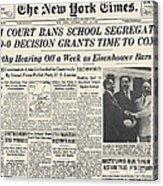 Segregation Headline, 1954 Acrylic Print by Granger