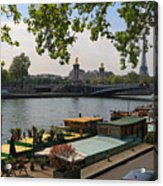 Seine Barges In Paris In Spring Acrylic Print