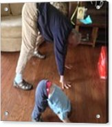 Self Portrait 8 - Downward Dog With Grandson Max On His 2nd Birthday Acrylic Print