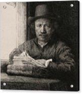 Self-portrait Drawing At A Window Acrylic Print