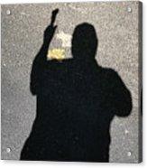 Self Portrait Hiker with Leaf Acrylic Print