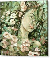 Self Portrait With Aplle Flowers Acrylic Print