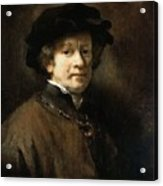 Self Portrait With Cap And Gold Chain Rembrandt Harmenszoon Van Rijn Acrylic Print