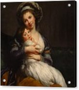 Self-portrait With Her Daughter Jeanne-lucie Acrylic Print