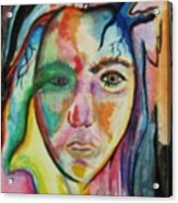 Self Portrait With Yellow Dove Acrylic Print