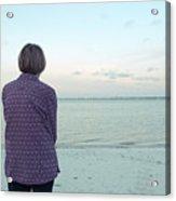 Senior Woman On The Beach  Acrylic Print