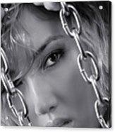 Sensual Woman Face Behind Chains Acrylic Print