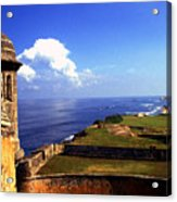 Sentry Box And Sea Castillo De San Cristobal Acrylic Print