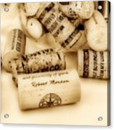 Sepia Corks Acrylic Print by Cheryl Young