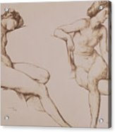 Sepia Drawing Of Nude Woman Acrylic Print