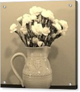 Sepia Gold Pitcher Of Carnations Acrylic Print