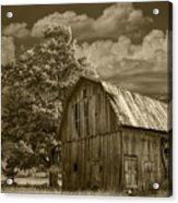 Sepia Michigan Barn Landscape Acrylic Print