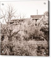 Sepia-toned Blooming Almond Trees Of Fikardou Village 1 Acrylic Print