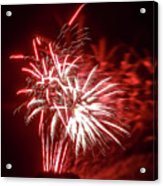 Series Of Red And White Fireworks Acrylic Print