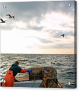 Setting Lobster Traps In Chatham On Cape Cod Acrylic Print