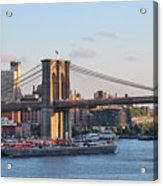 Setting Sun On Brooklyn Bridge Acrylic Print