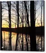 Setting Sun On Monroe Lake Bloomington Indiana Acrylic Print