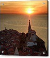 Setting Sun On The Adriatic Sea Behind Archangel Michael On Top  Acrylic Print