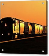 Setting Sun Reflecting Off Train And Track Acrylic Print