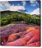 Seven Colored Earth In Chamarel. Mauritius Acrylic Print