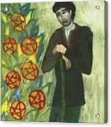 Seven Of Pentacles Illustrated Acrylic Print