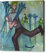Seven Of Swords Illustrated Acrylic Print