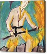 Seven Of Wands Illustrated Acrylic Print