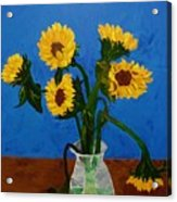 Seven Sunflowers In Vase Acrylic Print