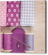 Sewing Threads Needle And Fabrics On A Wooden Box Acrylic Print