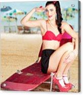 Sexy Beach Pin Up Girl Wearing High Heels Acrylic Print