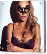 Sexy Glamorous Woman Wearing A Mask Acrylic Print
