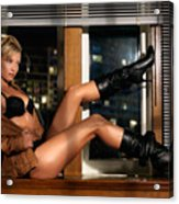 Sexy Woman In Lingerie Sitting On A Window Sill Acrylic Print