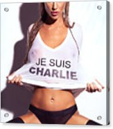 Sexy Young Woman In Wet Je Suis Charlie Shirt Charlie Riina Acrylic Print