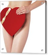 Sexy Young Woman With A Valentine Gift Acrylic Print