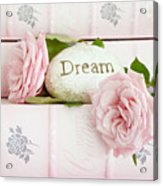 Shabby Chic Cottage Pink Roses On Pink Books - Romantic Inspirational Dream Roses  Acrylic Print