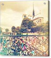 Shabby Chic Love Locks Near Notre Dame Paris Acrylic Print