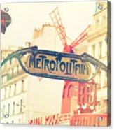 Shabby Chic Moulin Rouge Metro Sign Paris Acrylic Print