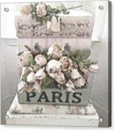 Paris Shabby Chic Pastel Paris Books Roses - Paris Shabby Cottage Watercolor Roses Acrylic Print