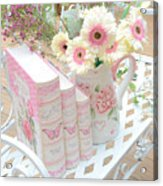 Shabby Chic Pink And Yellow Gerber Daisies Floral Art - Spring Cottage Daisies Floral Art Acrylic Print