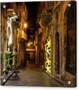 Shabby Chic - Small Street Night Walk In Syracuse Sicily Acrylic Print