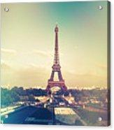 Shabby Chic Vintage Style Eiffel Tower Paris Acrylic Print