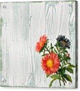 Shabby Chic Wildflowers On Wood Acrylic Print