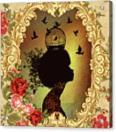 Shabby Fae Silhouette  Golden Acrylic Print