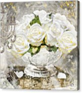 Shabby White Roses With Gold Glitter Acrylic Print