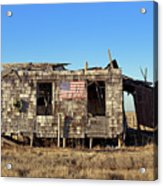 Shack With American Flag Acrylic Print by John Greim