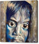 Shades Of Why, Sad Child Painting Acrylic Print